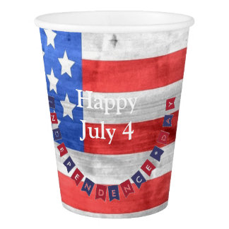Happy Independence Day July 4 American Flag Grunge Paper Cup