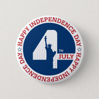 Happy Independence day liberty statue silhouette 2 Inch Round Button