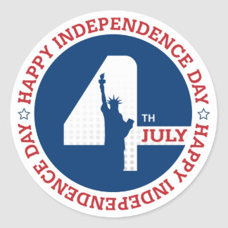 Happy Independence day liberty statue silhouette Classic Round Sticker
