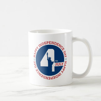 Happy Independence day liberty statue silhouette Coffee Mug