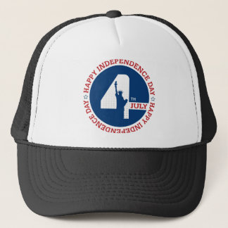 Happy Independence day liberty statue silhouette Trucker Hat