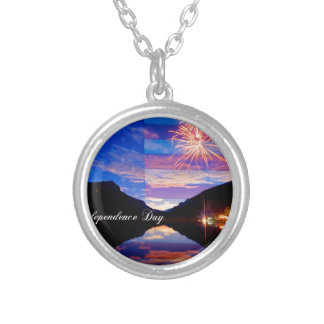 Happy Independence Day Silver Plated Necklace