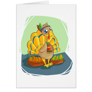 Happy Indian Turkey ready for thanksgiving Card