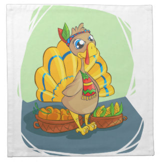 Happy Indian Turkey ready for thanksgiving Cloth Napkin