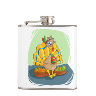 Happy Indian Turkey ready for thanksgiving Hip Flask