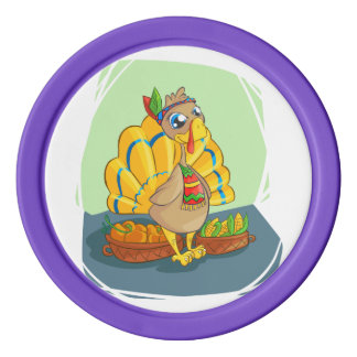 Happy Indian Turkey ready for thanksgiving Poker Chips
