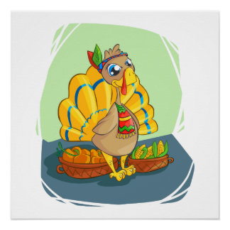 Happy Indian Turkey ready for thanksgiving Poster