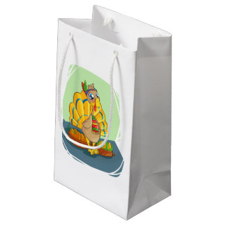 Happy Indian Turkey ready for thanksgiving Small Gift Bag