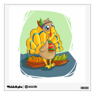Happy Indian Turkey ready for thanksgiving Wall Decal