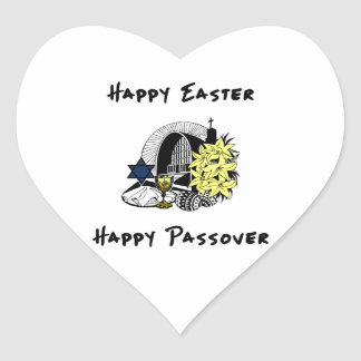 Happy Interfaith Easter and Passover Heart Sticker