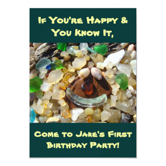 Happy Invitations First Birthday Party Smiley Face
