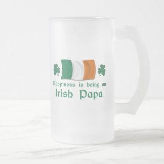 Happy Irish Papa Frosted Glass Beer Mug