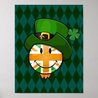 Happy irish Union Jack Flag in a Leprechaun Hat Poster