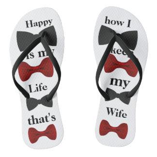 Happy is my life Adult, Slim Straps Flip Flops