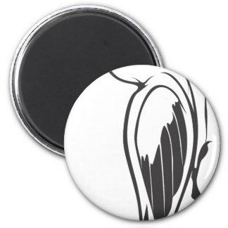 Happy Ivory Billed Woodpecker Bird in Black 2 Inch Round Magnet