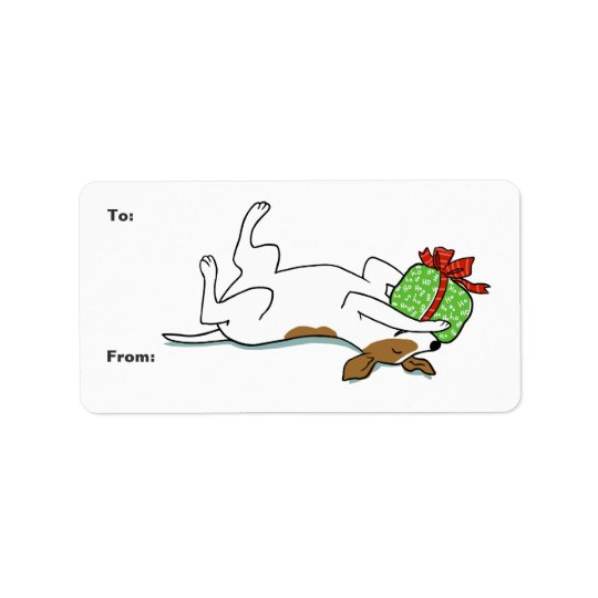 Happy Jack Russell Terrier Christmas Label