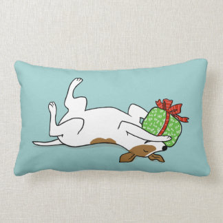 Happy Jack Russell Terrier with Christmas Gift Lumbar Pillow