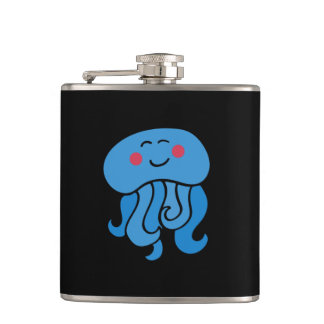 happy jelly fish hip flask
