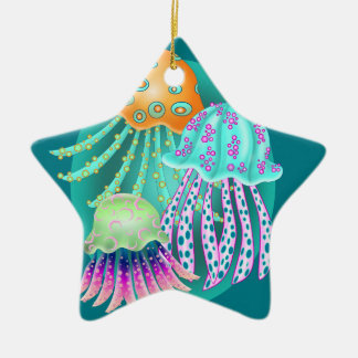 Happy Jellyfish Ceramic Ornament