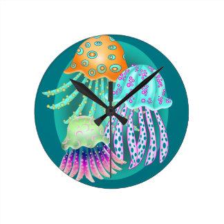 Happy Jellyfish Round Clock
