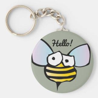 Happy Jolly Bee Basic Round Button Keychain