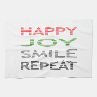 Happy joy smile repeat - strips - red, green. kitchen towel