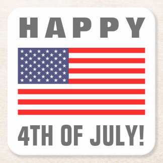 Happy July 4th American flag paper drink coaster