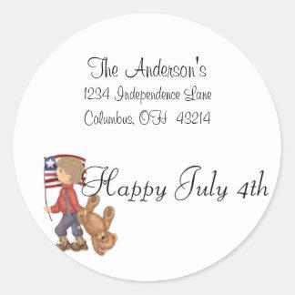 Happy July 4th Boy/Bear & Flag Address Labels