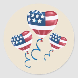 Happy July 4th heart balloons Round Sticker