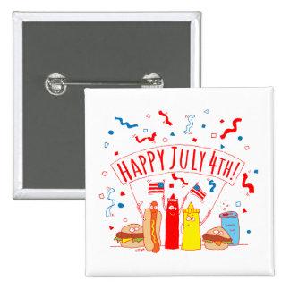 Happy July 4th Picnic 2 Inch Square Button