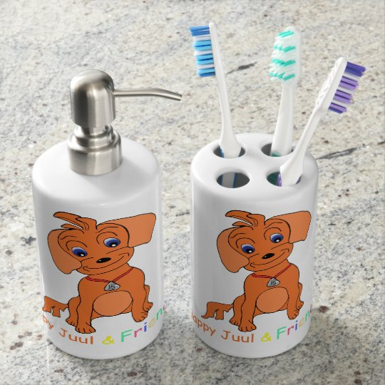 Happy Juul Toothbrush and Soap Dispencer Bathroom Set