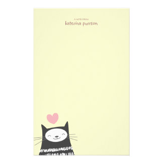 Happy Kawaii Cat Personalizable Note Paper Stationery Paper