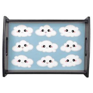 Happy Kawaii Cute and Smiling Clouds Serving Tray