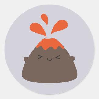 Happy Kawaii Volcano Classic Round Sticker