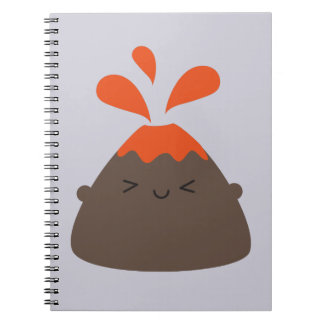 Happy Kawaii Volcano Spiral Notebook