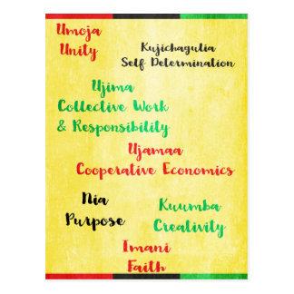 Happy Kawanzaa Seven Principles Postcard