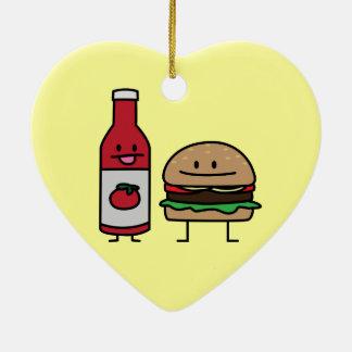 Happy Ketchup and Hamburger Ceramic Heart Ornament