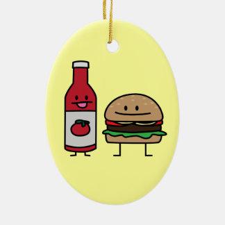 Happy Ketchup and Hamburger Ceramic Oval Ornament
