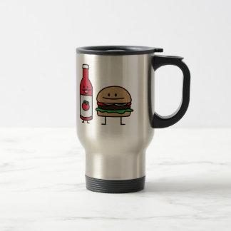 Happy Ketchup and Hamburger Stainless Steel Travel Mug