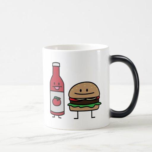 Happy Ketchup and Hamburger Coffee Mug