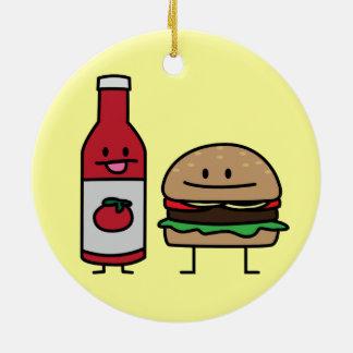 Happy Ketchup and Hamburger Round Ceramic Ornament