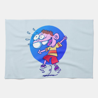 happy kid jumping to air funny cartoon kitchen towel
