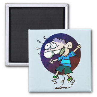 happy kid jumping to air funny cartoon magnet