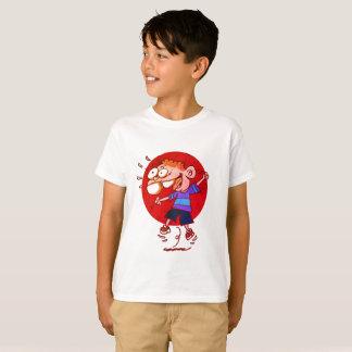 happy kid jumping to air funny cartoon T-Shirt