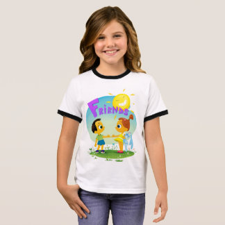 Happy kids friends, girl and boy ringer T-Shirt
