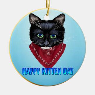 Happy Kitten Day Ceramic Ornament