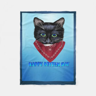 Happy Kitten Day Fleece Blanket