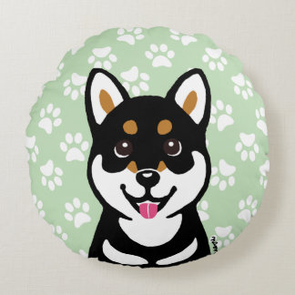 Happy Kuro Shiba Inu Cartoon Round Pillow