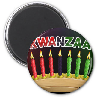 Happy Kwanzaa Candles Design Magnet