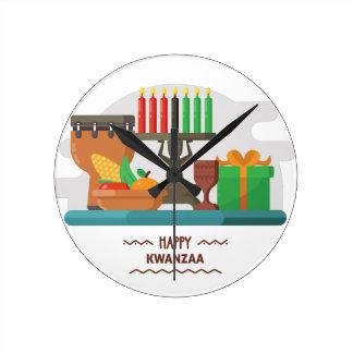 happy kwanzaa gifts round clock